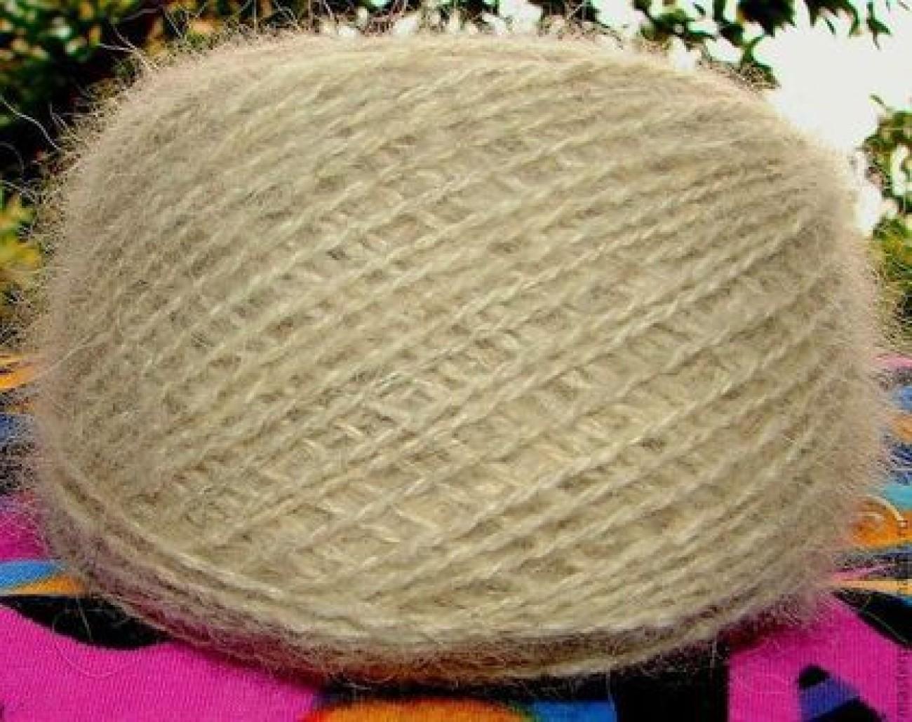 Пряжа «Снежный Пес» ручного прядения из собачьей шерсти