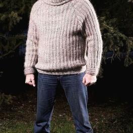 Свитер мужской ручной вязки «Водолаз» теплый комфортный.
