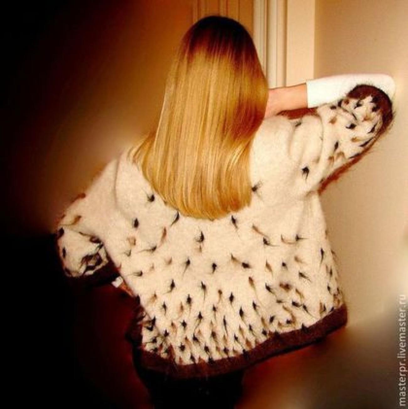 Жакет женский вязанный «Теплая Рысь» из собачьего пуха .