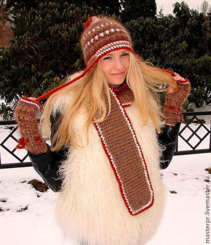 Шапка женская зимняя «ЗЕНА» .Комплект вязаный-шапка,шарф,митенки.