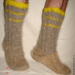 Носки пуховые вязанные арт. №53м из собачьей шерсти