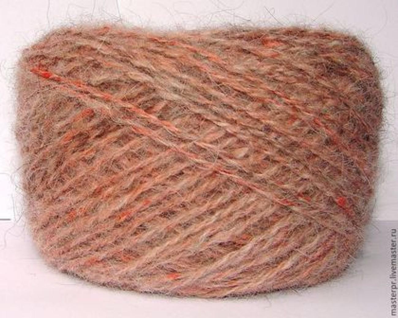 Пряжа ручного прядения «Солнышко2» из собачьей шерсти.