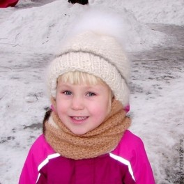 Шапка детская зимняя «Снежинка» вязанная из собачьего пуха. Комплект