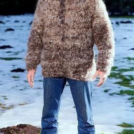 Свитер мужской ручного вязания «Пикассо» из собачьей шерсти