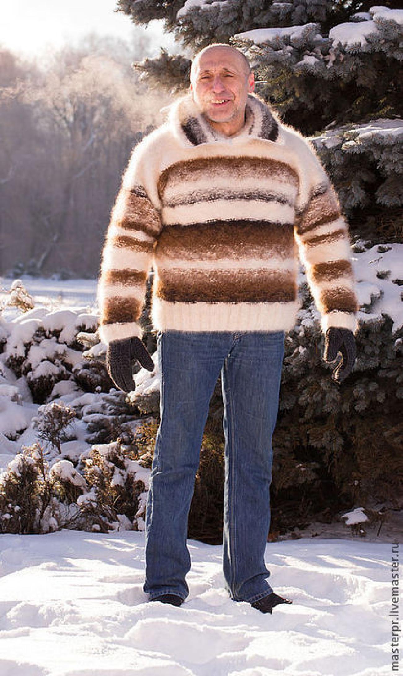 Свитер зимний «Капучино со сливками» из собачьей шерсти.