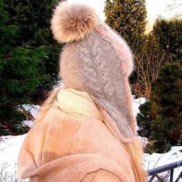 Шапка-шлем женская зимняя «Клеопатра» шерстяная
