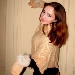 Пелерина «Боярыня» ручного вязания кашемировая из собачьей шерсти