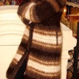 Пальто «Зимняя Сказка» вязанное из собачьей шерсти ручной работы .Эксклюзив 100%.
