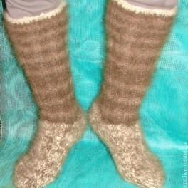 Носки – гольфы пуховые вязанные арт. №28м из 3-х видов собачьей шер
