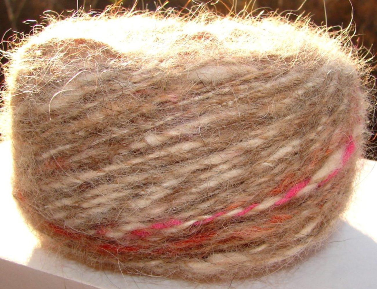 Пряжа меланж «Шерстяная красота» 100м 100грамм из собачьей шерсти.